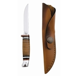 Hunter w/Leather Wrapped Handle & Sheath-Engravable