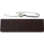 Maxam Stainless Steel Liner Lock Knife with Wood Presentation Case SKMXDBX3