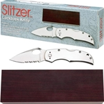 Slitzer Stainless Steel Half Serrated Lockback Knife with Wood Presentation Case SKSZ60