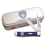 Smooth Blue Synthetic Handle Police Mini Trapper 5453