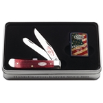 125th Anniversary Dark Red Bone Trapper and Zippo Lighter in Gift Tin 52014