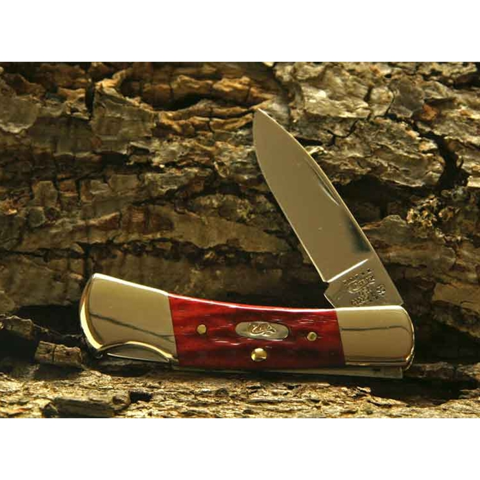 Pocket Worn Old Red Bone Small Lockback-Engravable