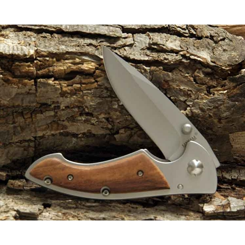 Maxam Exotic Wood Handled Frame Lock Knife