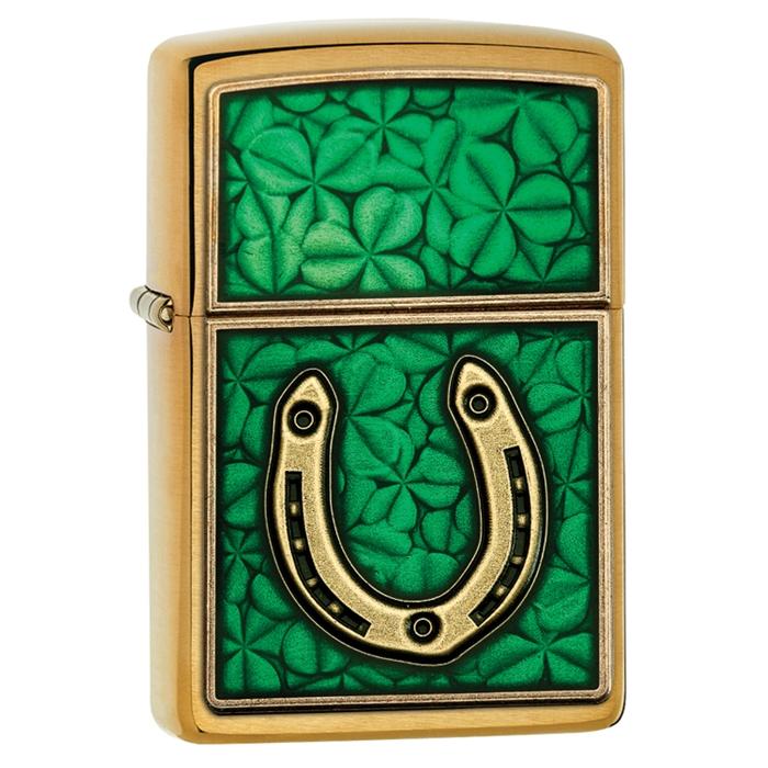 29243 Zippo Clovers And Horseshoe Emblem