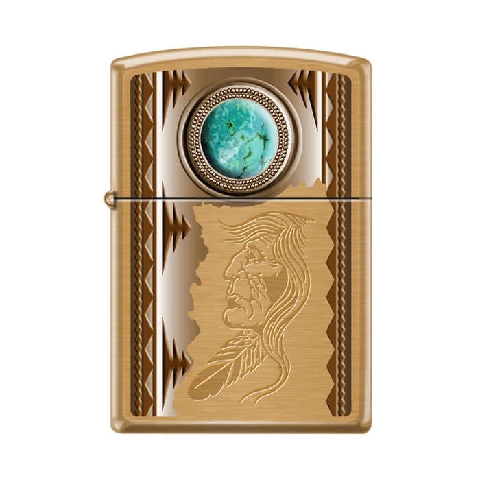 Zippo Indian With Turquoise